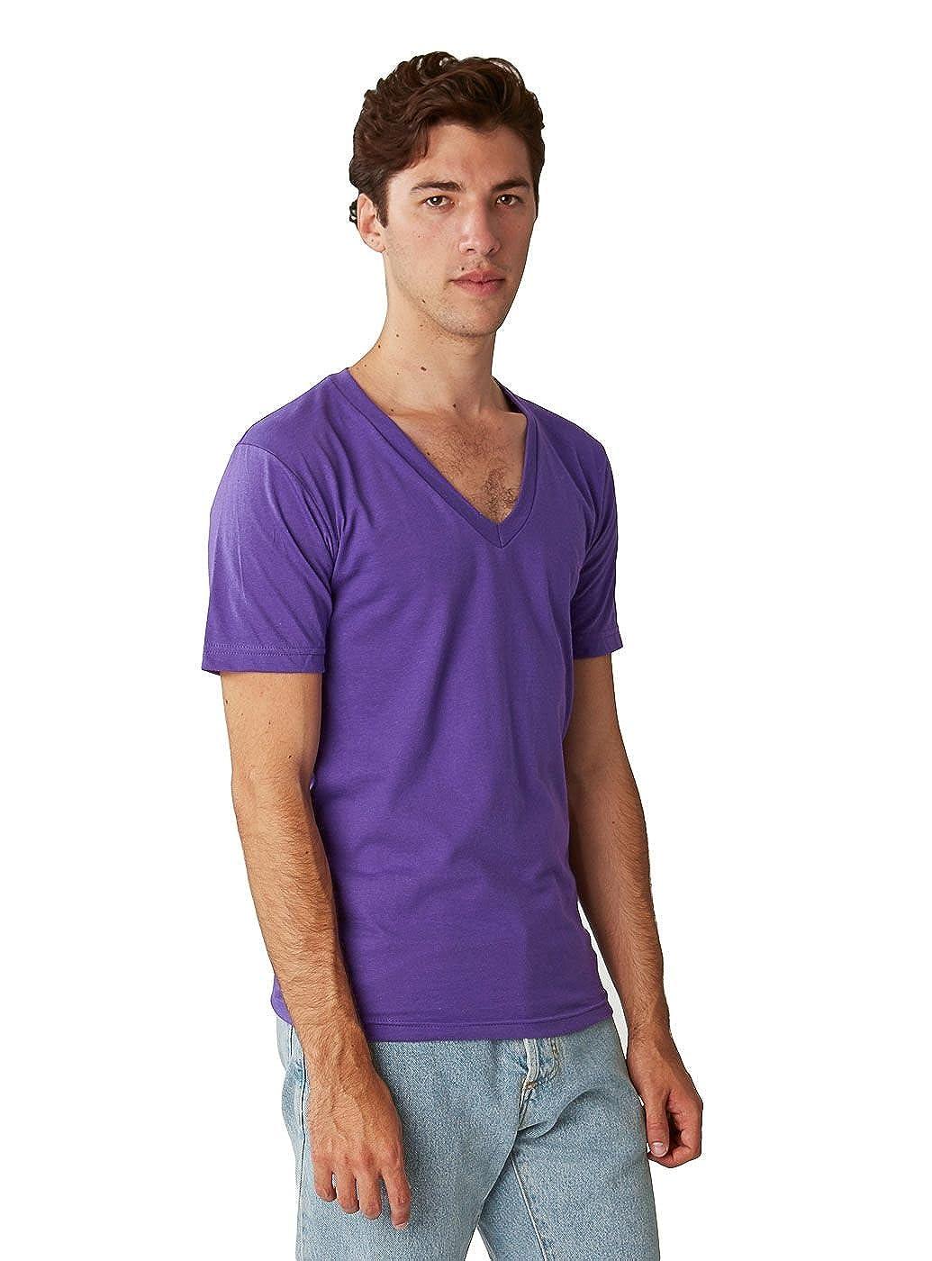 American Apparel Mens Unisex Fine Jersey Short-Sleeve V-Neck