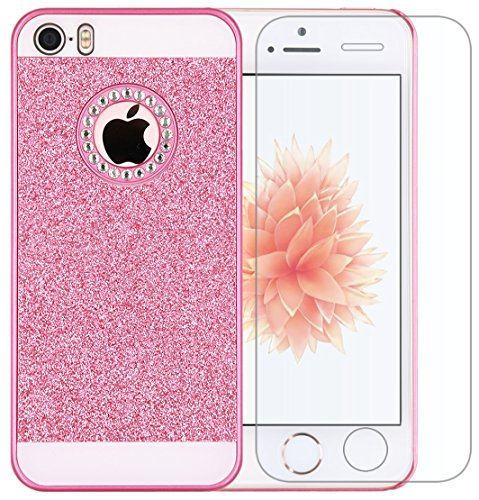 Iphone 5 Case, A-Focus Beauty Luxury Girly Gitter dazzling Flash Twinkle Blaze Bling Sparkle Crystal Rhinestone Hard PC Case + Glass Screen Protector for Iphone SE / 5s / 5 (Bling Pink) (Iphone 5 Crystal Bling Case compare prices)