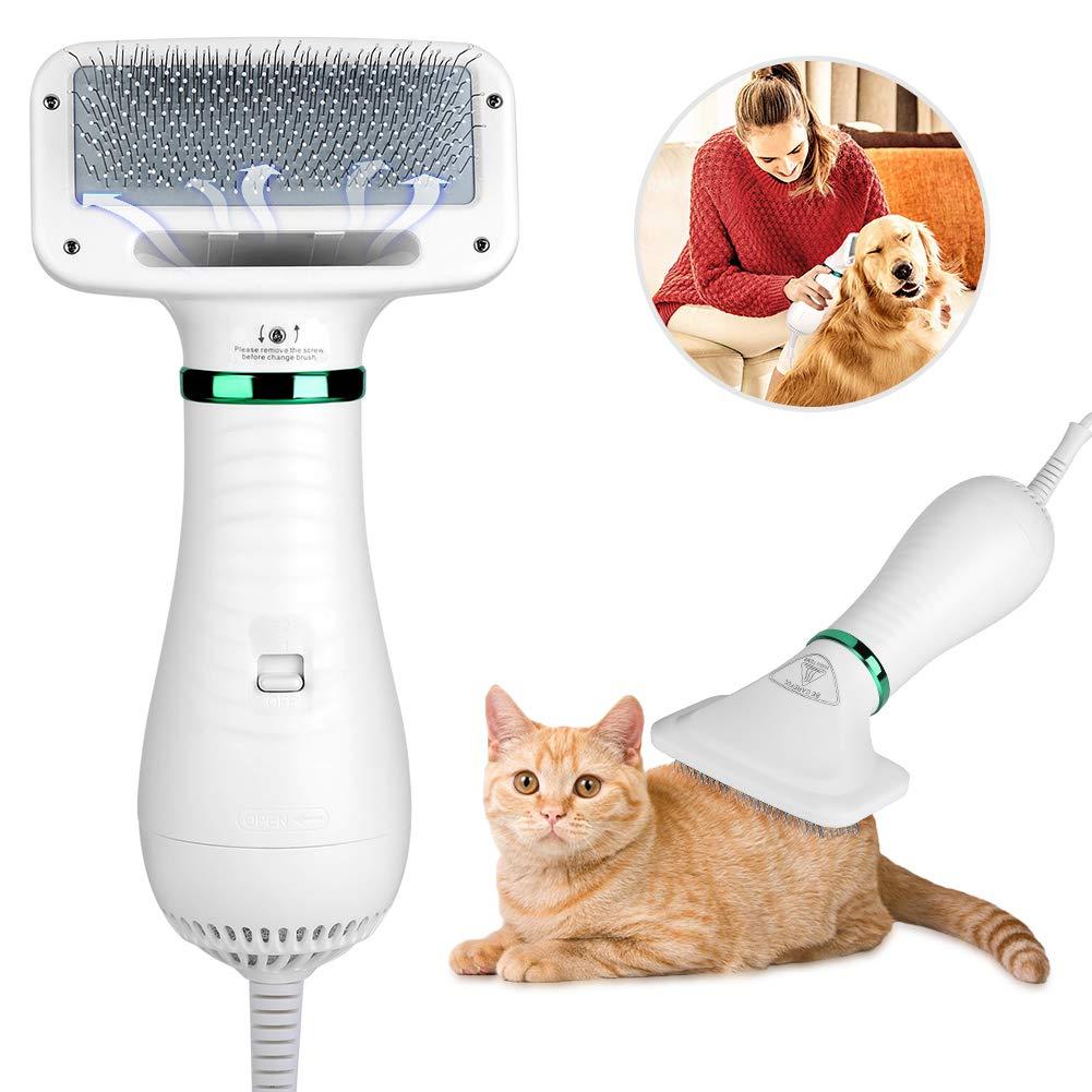 peine con secador para mascotas con gato tumbado peinando