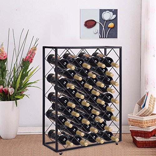 Giantex 32 Bottle Wine Rack with Glass Table Top Wine Display and Storage Rack