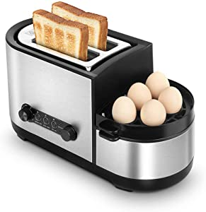 GSAGJmbj Toaster, 5-in-1 Toaster with Egg Boiler and Poachers, 2 Slice Toaster with Mini Frying Pan, Steamer, 7 Modes of Browning Control, 1250 W, Stainless Steel Silver