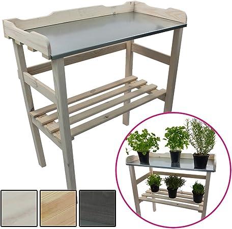 Étagère pour plantes / Table pour jardin 82 x 78 x 38 cm - Bois FSC®  impregné et surface de travail en métal galvanisé, Couleur:Blanc