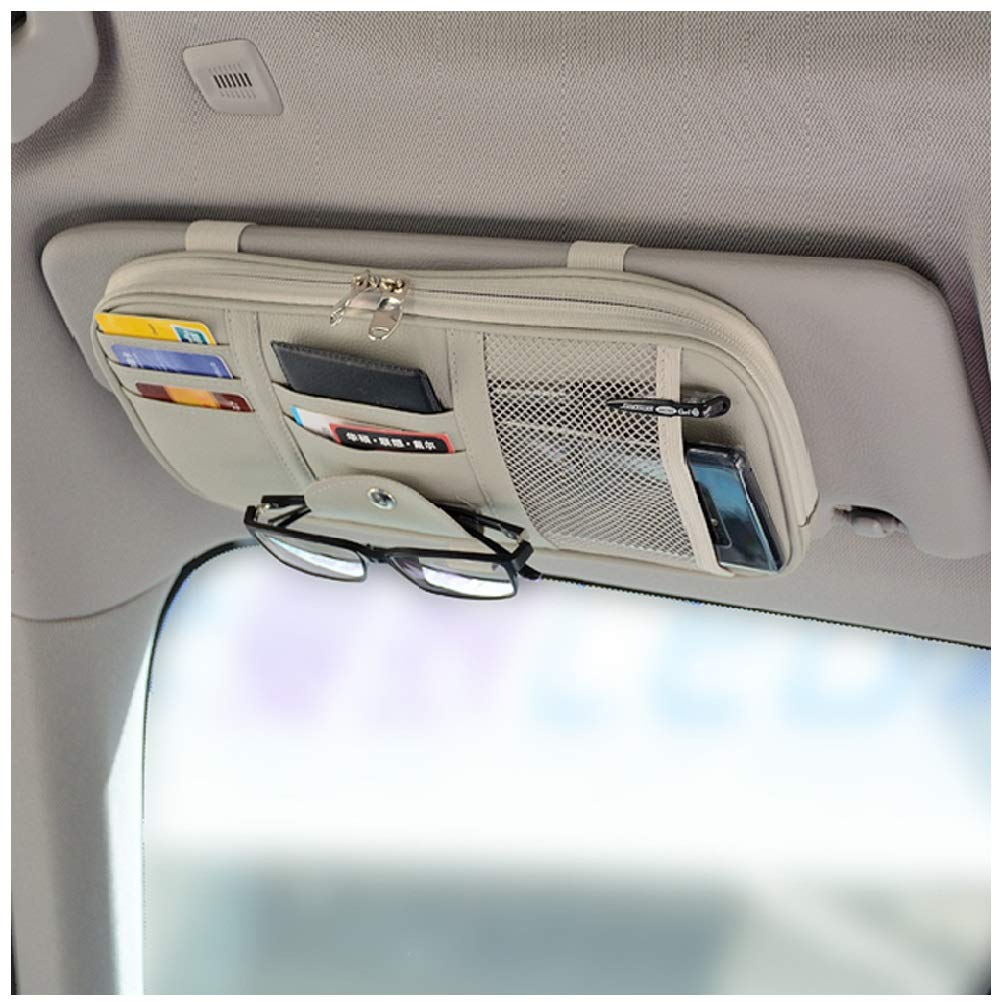 PU Leather Vankcp Auto Interior Accessories Sunglass Pen CD Card Small Document Storage Pouch Holder Multi-Pocket with Zipper Net Black Car Sun Visor Organizer