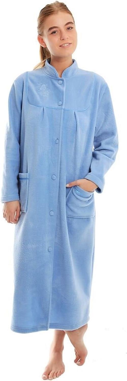 undercover lingerie Ladies Button Front Soft Fleece Dressing Gown 4073 [26/28,Blue]