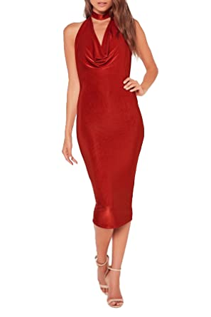 Missguided Choker Cowl Neck Midi Dress for Women in Red, 4