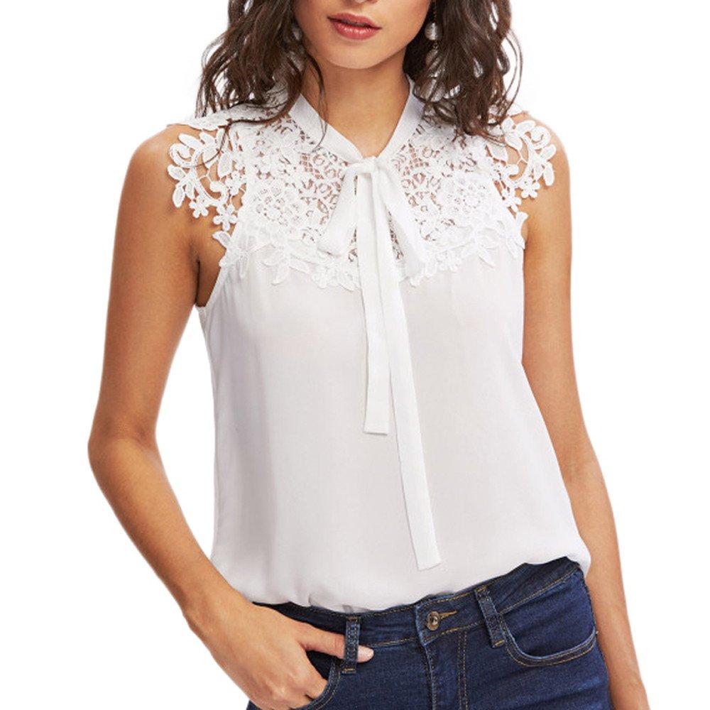 YpingLonk Camiseta sin Mangas para Mujer Interior con Encaje Niña ...