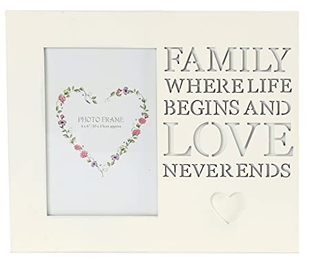 Wooden Cream Hanging Photo Frame With Cut Out Words 4 X 6 ~ Family ...