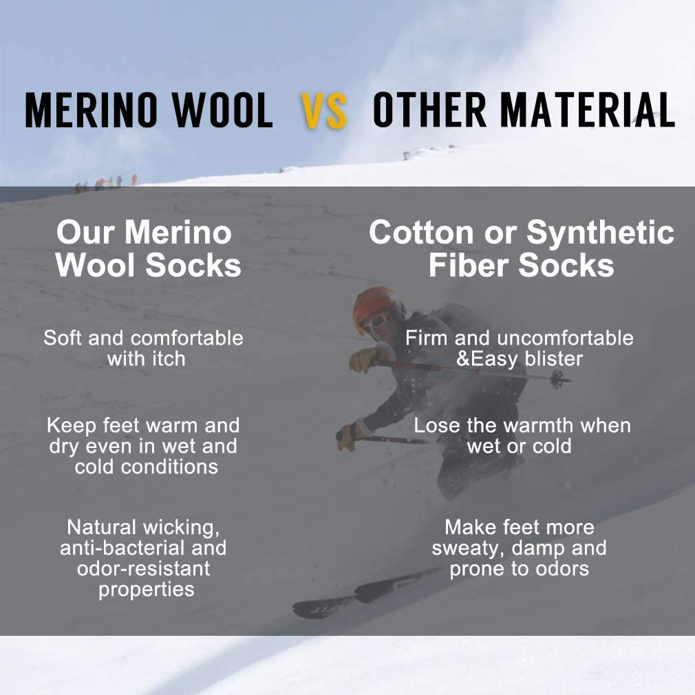 RTZAT Outdoor Thick Thermal Cushioned Moisture Wicking Hiking Crew Socks for Women and Men Merino Wool Socks