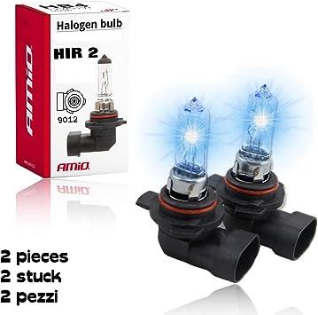 2 X Hir2 Auch Bekannt Als 9012 Glühbirne Amio Ultra Hochleistungs Halogen Scheinwerfer Leuchtmittel Fernlicht Abblendlicht Und Nebel Ersatzlampe Hellstes Licht Auf Der Straße Auto