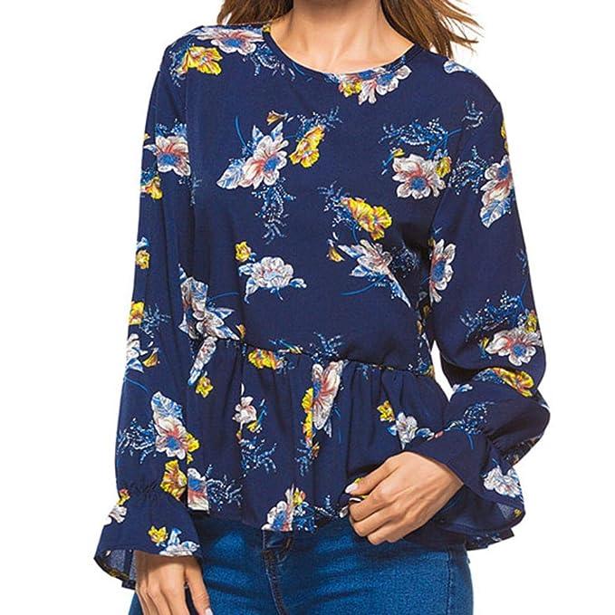 LuckES Mujer Blusa Plisada con Manga Larga y Blusa Estampada con Cuello Redondo y Camiseta de