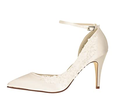 2eedcab92c881c Rainbow Club Brautschuhe Fern - High Heels - Ivory Satin Blumen  Applikationen - Gr 36 EU