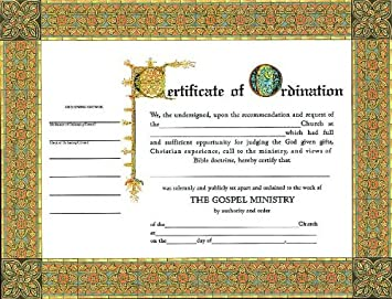 Certificate Ordination Minister 6 Pack