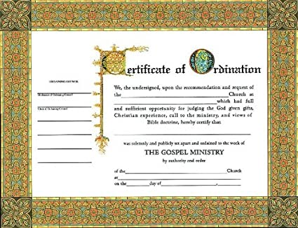 Amazon certificate ordination minister 6 pack blank certificate ordination minister 6 pack yelopaper Image collections