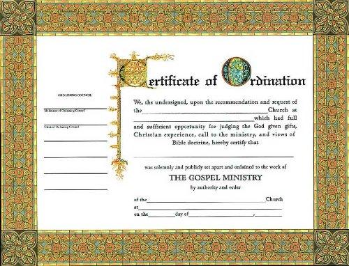 Certificate-Ordination-Minister (6 - Certificate Ordination