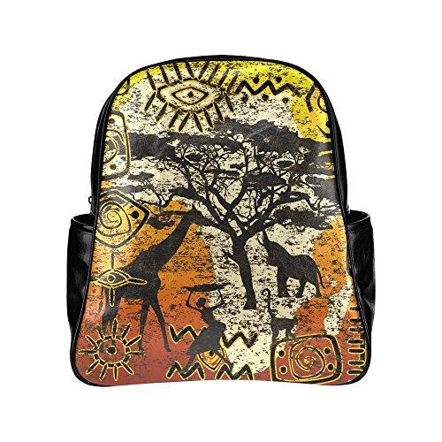 InterestPrint African Symbols Set Wildlife PU Leather Cus...