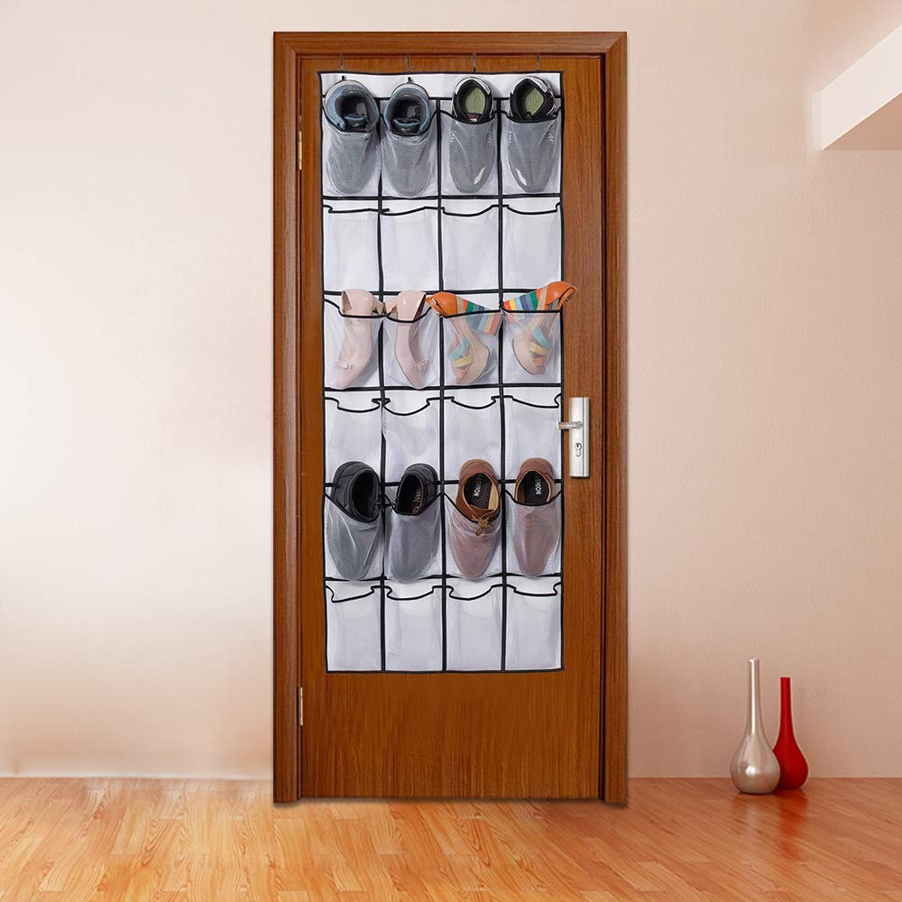 Over The Door Shoe Organizer with 24 Mesh Pockets Door Shoe Hanger Door Shoe Storage Door Shoe Rack Door Shoe Holder (White)