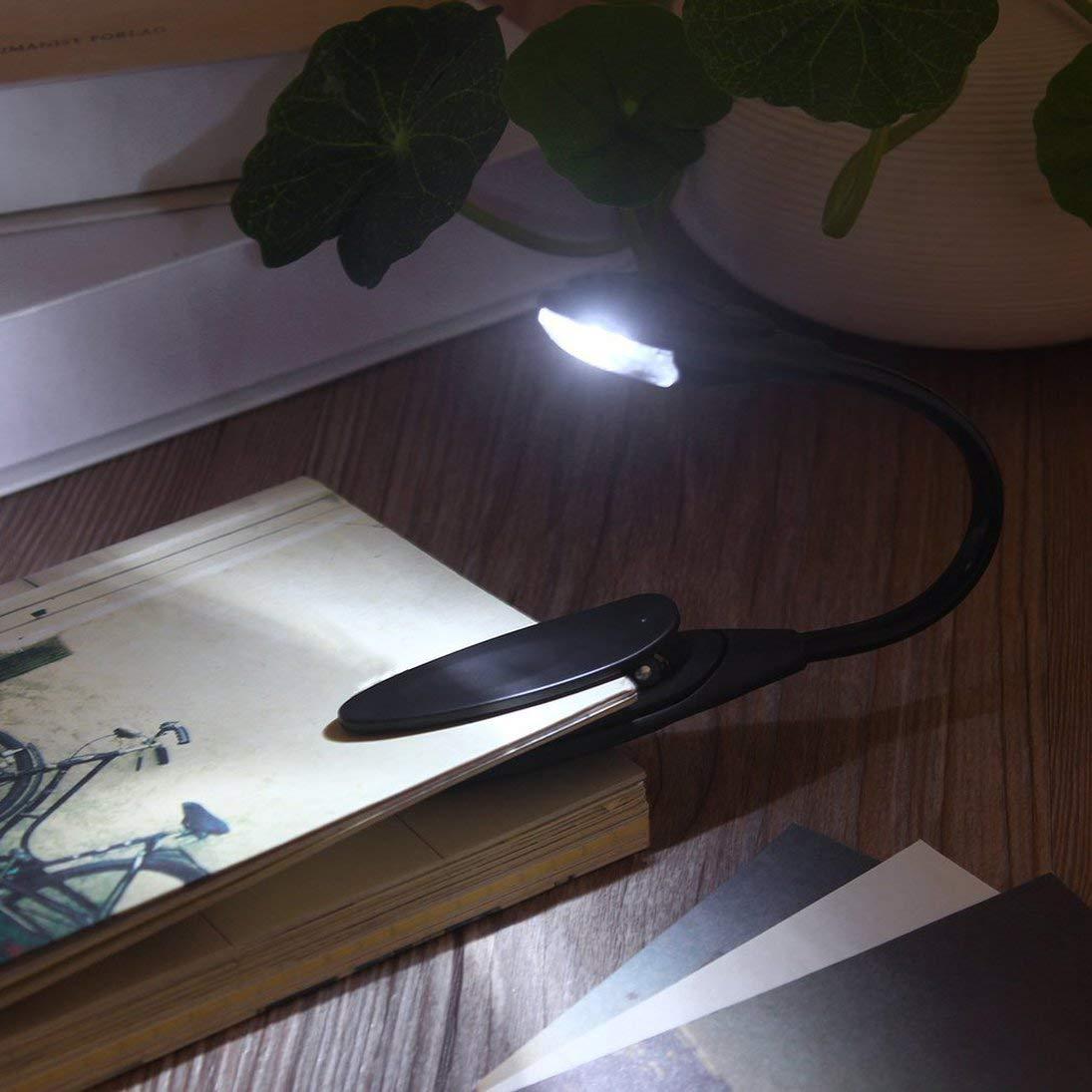 Mini Flexible Clip-On Brillante Libro Luz port/átil Blanco LED L/ámpara de Lectura de Lectura de Libro L/ámpara port/átil compacta de Dormitorio estudiantil Luces ToGames-ES