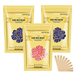 10.5Oz Hard Wax Beans for Painless Hair Removal Waxing Kit, At Home Wax Beads for Eyebrow, Facial, Legs, Arms, Bikini, Waxing Beads for Hair Removal with 10pcs Wax Spatulas (2Lavender+1Rose)