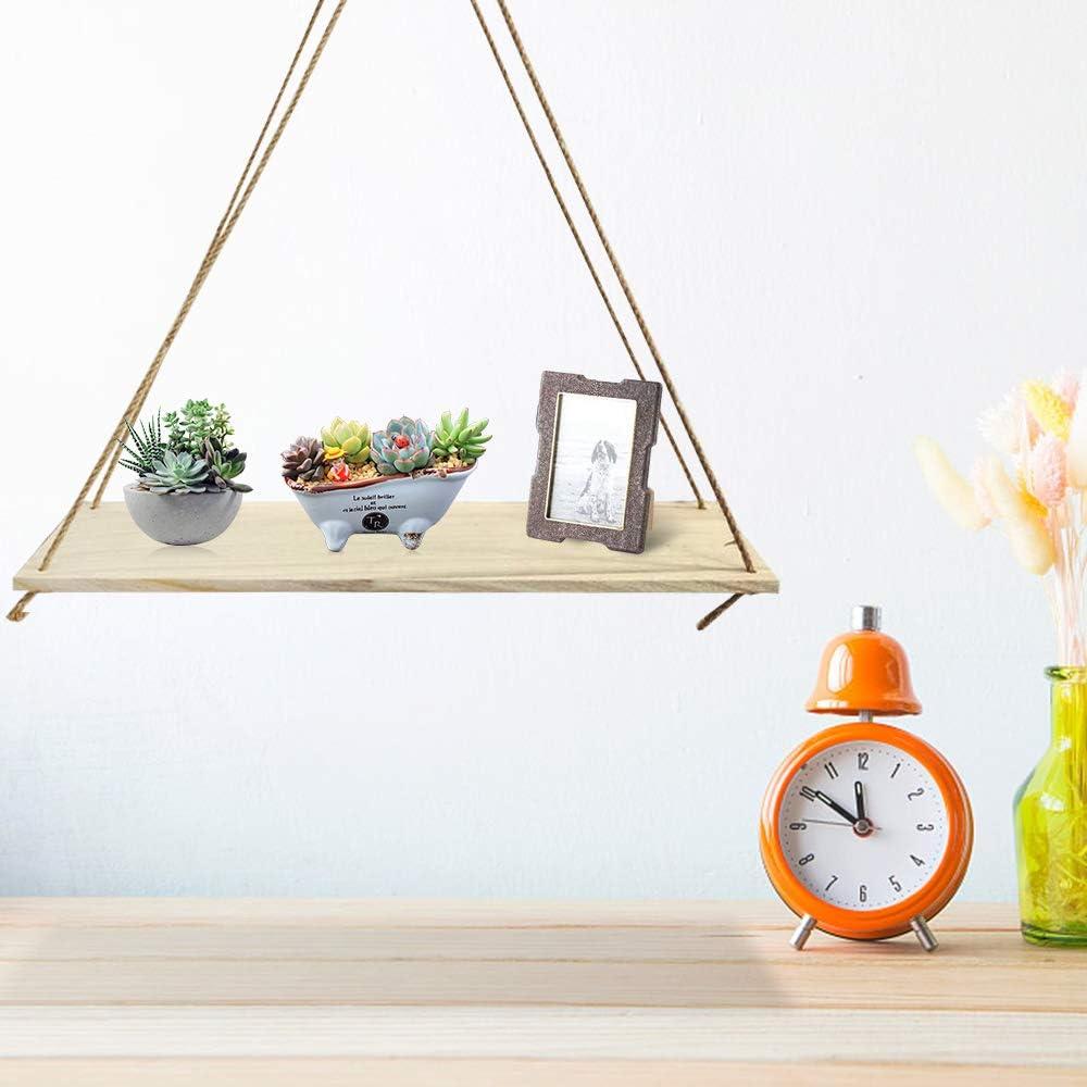 decoraci/ón de pared para dormitorio sala de estar Estantes flotantes de madera con cuerda r/ústico de cuerda de yute ba/ño estante colgante para pared