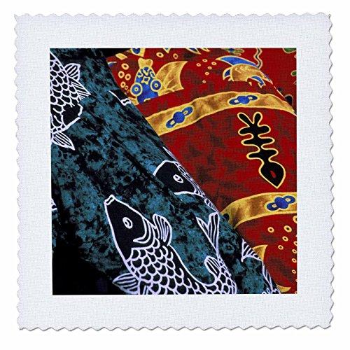 3dRose qs_85153_1 Society Islands, French Polynesia, Market, Batik - OC13 TGI0003 - Todd Gipstein - Quilt Square, 10 by 10-Inch