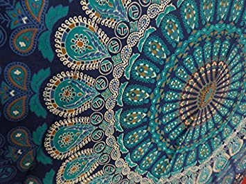 Hippie Indien Tapestry Deco Boho Verte Tapisserie Murale Mandala