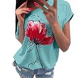 Amlaiworld Women Plus Size Shirt Summer Tee Tops Fashion Casual Floral Print Blouse Short Sleeve Loose Top T-Shirt Green