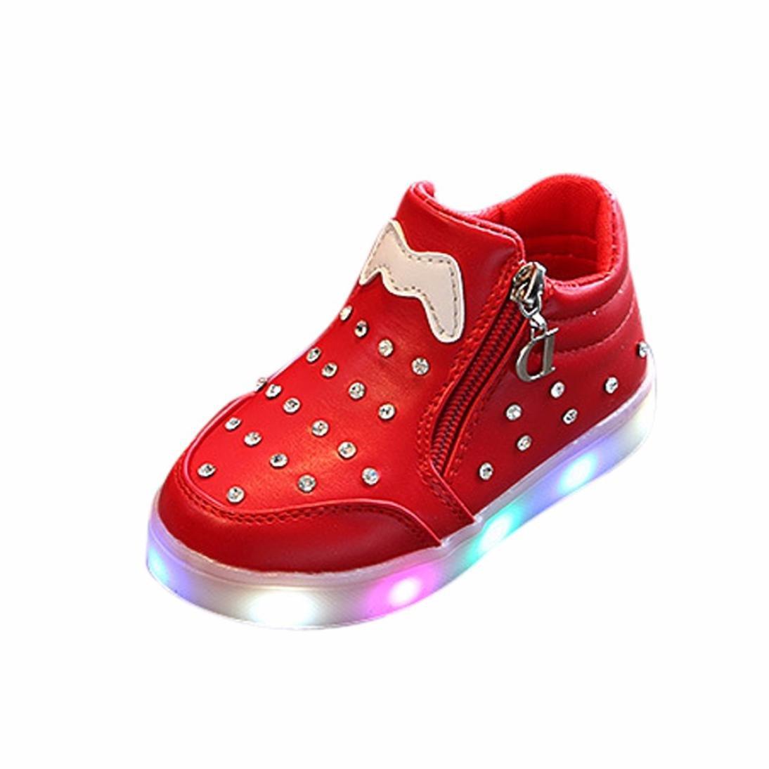 ❤️Chaussures de Bébé , Amlaiworld Enfants Filles Sneakers en Cristal Zippé LED Allument des Baskets Lumineuses Chaussures Pour Enfants Filles Garçon 1-6 Ans (21/1-1.5Ans, Rose) Amlaiworld 123