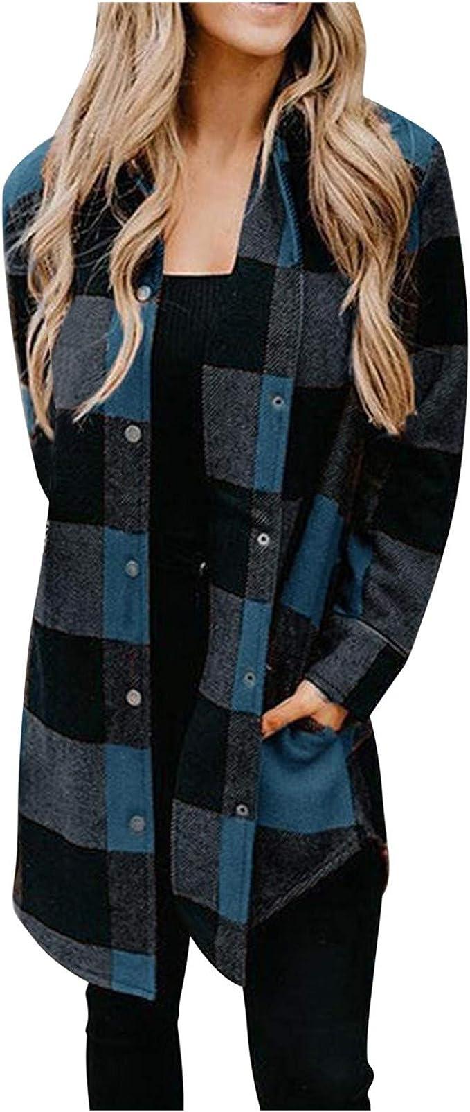 Chaqueta a Cuadros Larga para Mujer con Botones Chaqueta Transición Camisa Cuadros con Bolsillos Camisa Cuadros Manga Larga Estilo Moda Casual Otoño