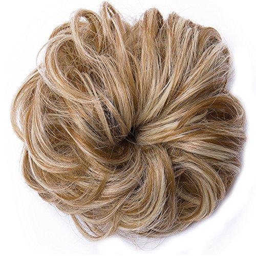 Updo Hair Extensions Synthetic Hair Bun Wavy Donut Bride Scrunchy Messy Hairpieces 2 Pieces 45g/pcs Dark Blonde Mix Bleach BlondeThicker
