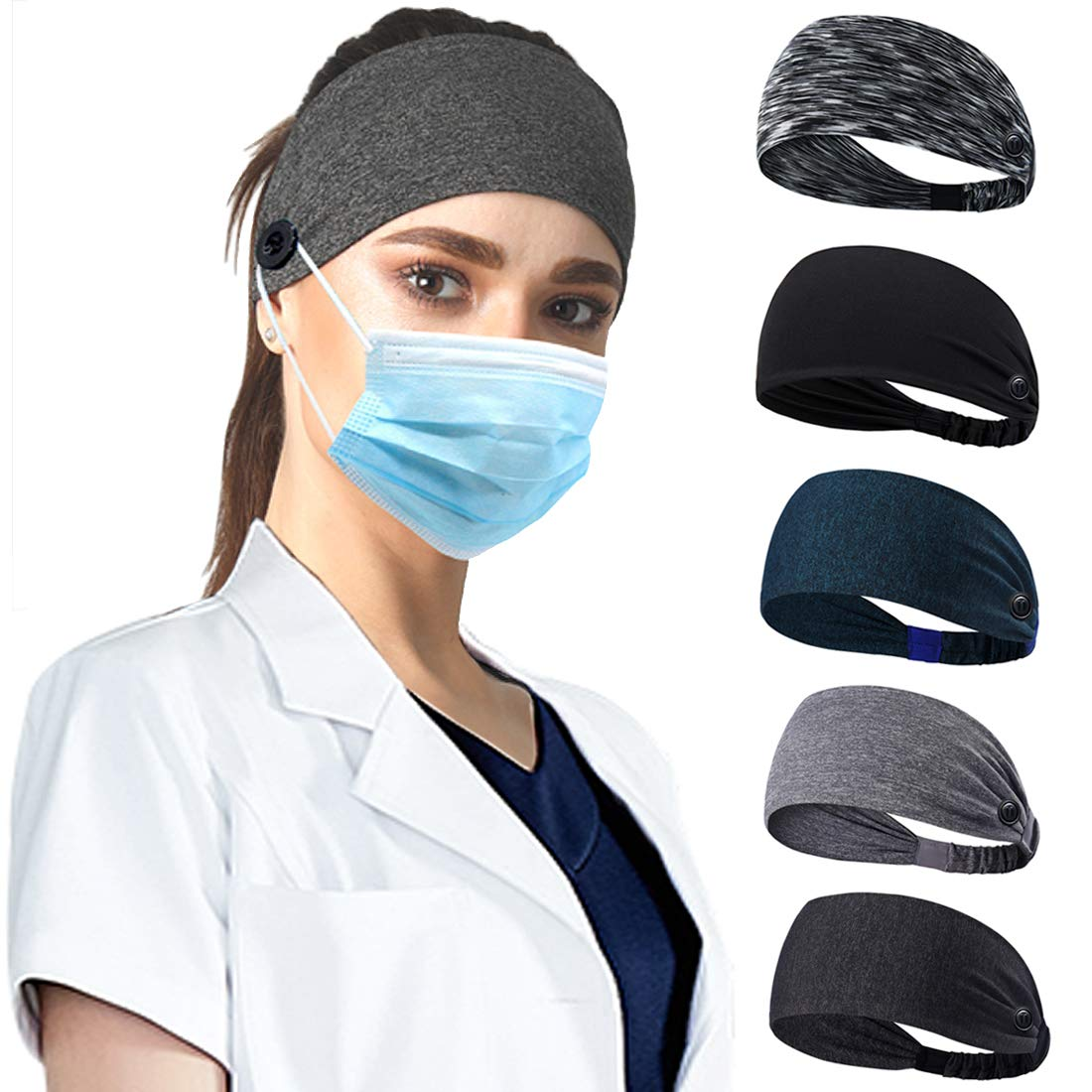 Ehfswrr Headbands With Button for Mask, Nurse Headband for Women and Men Yoga Sports Width Workout Turban Non Slip Heawrap for Doctors, Protect Your Ears 5 pack : Beauty
