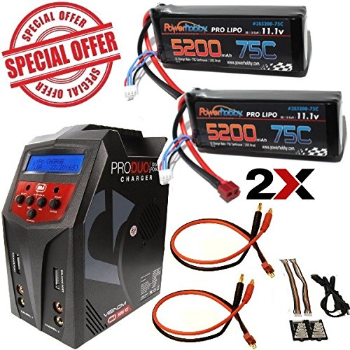 Powerhobby 3S 5200mAh 75C Lipo Battery X2 Deans Venom Pro Duo 80W Charger COMBO