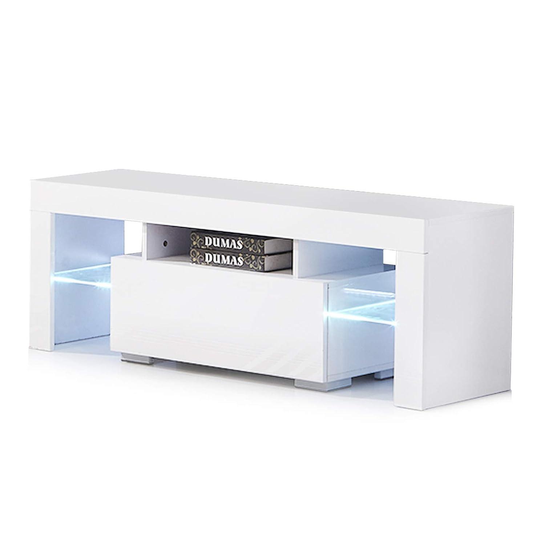 Mecor Modern High Gloss TV Unit Cabinet LED TV Stand Glass Shelves for Living Room