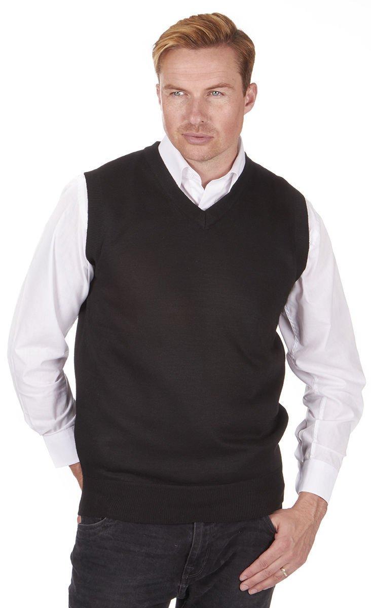 Mens Pierre Roche Plus Size Sleeveless Knitted Tank Top Jumper (4XL, Black)