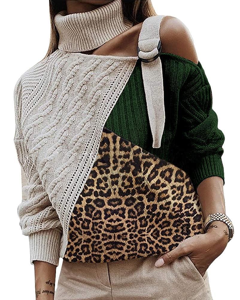 Yesgirl Donna Maglione Autunno Invernali Eleganti Moda Pullover Collo Alto Baggy Spalle Scoperte Manica Lunga Tops Casuale