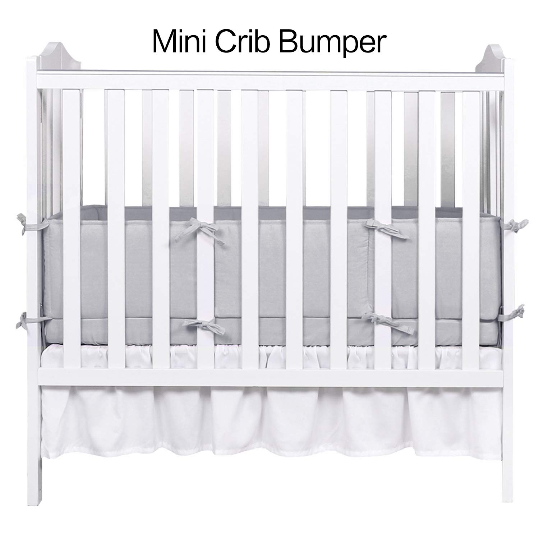 Designthology (U.S.) 100% Cotton Muslin Breathable Mini Crib Bumper Pads, 1-Piece Gray - Safe Crib Padding Protector, Machine Washable Padded Crib Liner