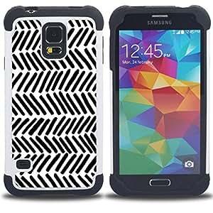 For Samsung Galaxy S5 I9600 G9009 G9008V - stripes white black lines hand Dual Layer caso de Shell HUELGA Impacto pata de cabra con im??genes gr??ficas Steam - Funny Shop -