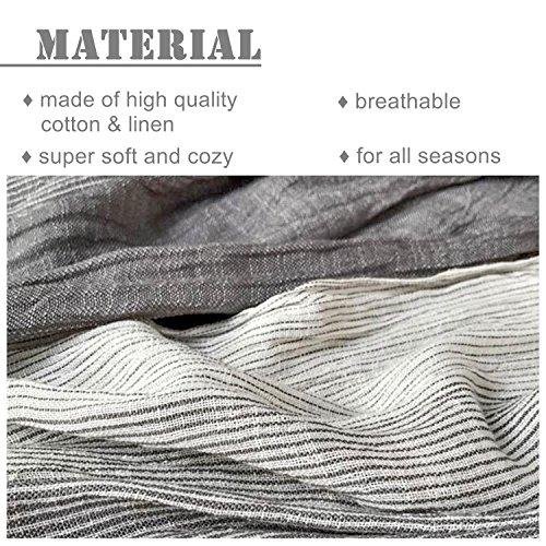 Kalevel Large Scarf Shawl Wrap Cotton Shawls and Wraps with Fringe - Dark Grey by Kalevel (Image #1)