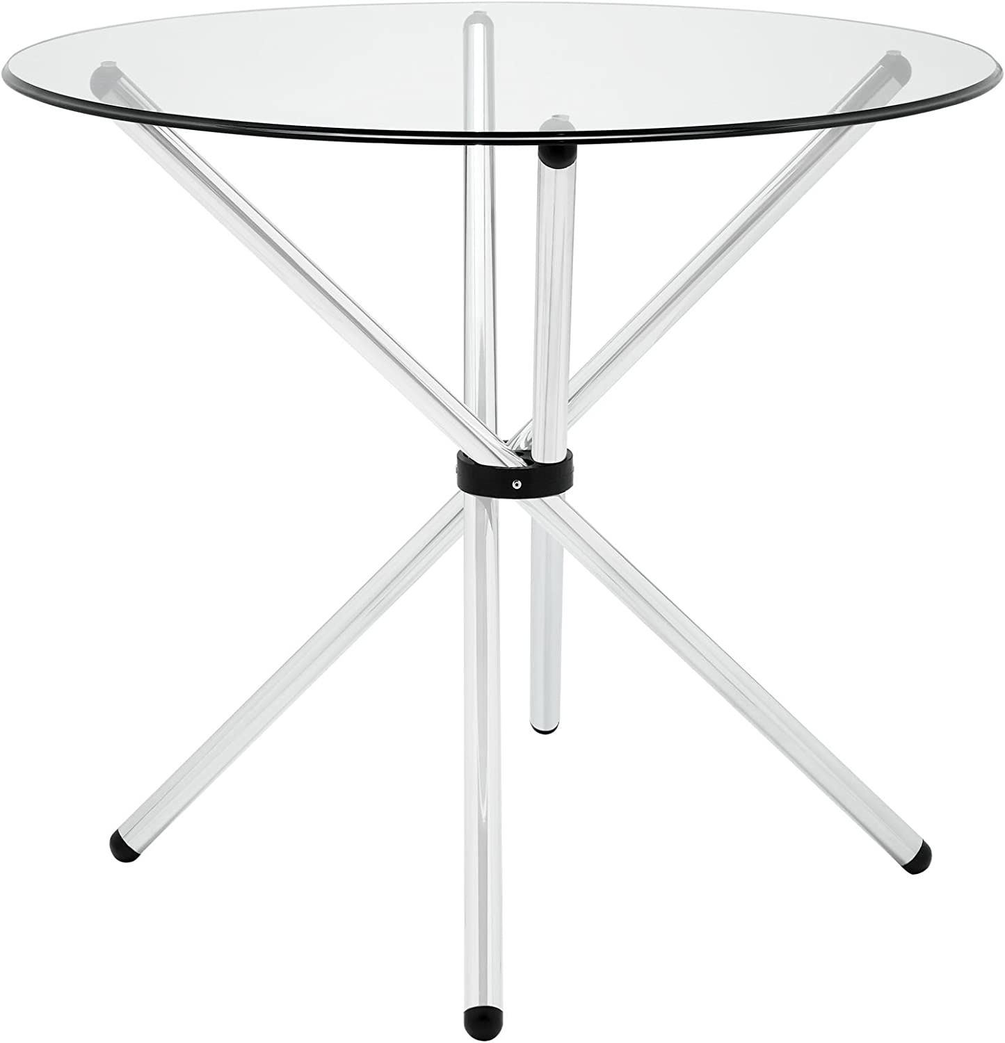 Amazon Com Modway Baton 36 Modern Kitchen And Dining Table With Round Glass Top And Stainless Steel Base Tables