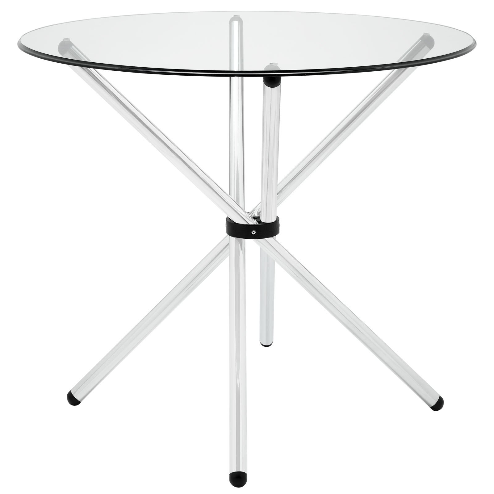 Modway Baton 36'' Modern Kitchen and Dining Table with Round Glass Top and Stainless Steel Base by Modway
