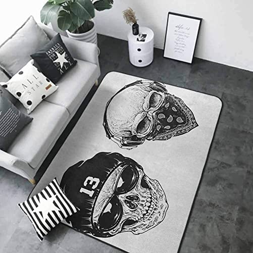 Kitchen Mat Skull,Funny Skull Band Dead Street Gangs with Bandanna Hood Rapper Style Grunge Print, Black White 84 x 60 in Outdoor Camping Rugs