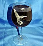 Custom Etched Hummingbird on 13 Oz. White Wine Glass Set of 2 For Sale