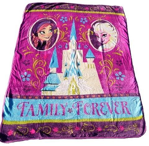 Frozen Royal Plush Raschel Throw 50X60 inches-- Family Forever by Disney Frozen (Elsa Palace Throw)