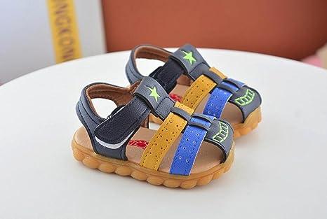 Niños Bebes Sandalias Ocasionales de Niños Moda Zapatilla de Deporte Patchwork Star Print Zapatos ¡Verano caliente! ❤ Manadlian (Azul, 12-18 Meses): ...