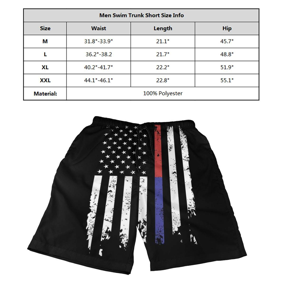 Retro Police and Firefighter Thin Blue Red Line Flag Mens Cute Beach Swim Trunks Quick Dry Board Shorts with Mesh Lining
