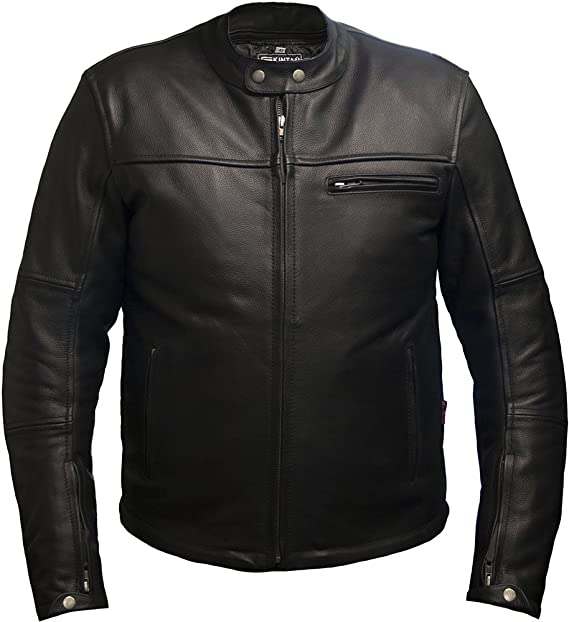 Skintan Mens CE Armoured Leather Motorbike Jacket