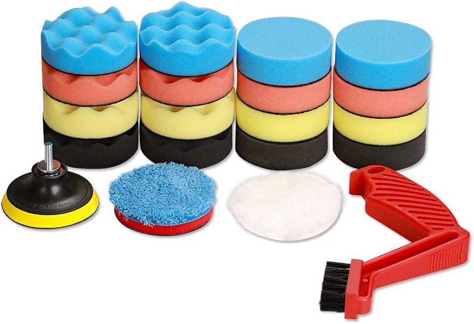 SPTA 21Pcs Car Foam Drill Polishing Pad Kit,3inch (80mm) Polishing Pads 16pcs Buffing Pads,Wool Pads,Multifunctional Cleaning Brush,Backing Plate,for Car Polisher Polishing,Buffing and Cutting