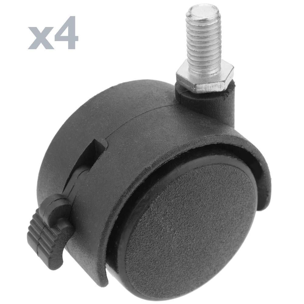 PrimeMatik - Wheel swivel castor of nylon with brake 40 mm M6 4 pack PrimeMatik.com