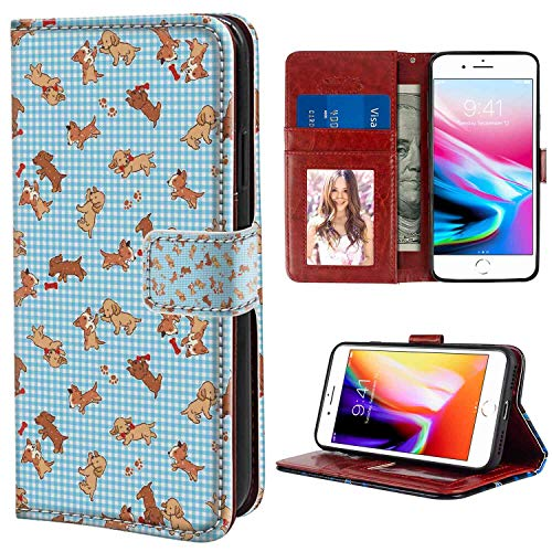 iPhone 7 Plus, iPhone 8 Plus Wallet Case, Dog Checkered Square Pattern Background Playful Puppies Paw Print Golden Retriever Breed Multicolor PU Leather Folio Case with Card Holder and ID Coin Slot