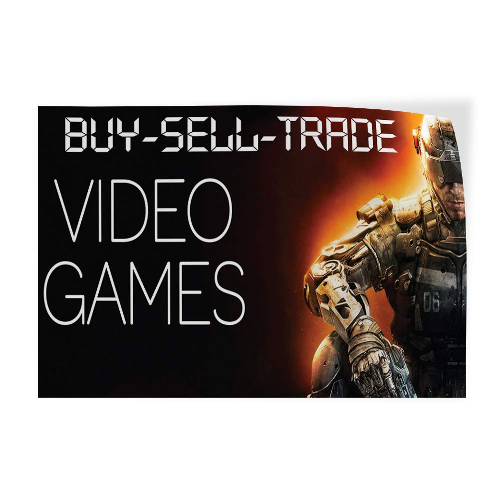 Decal Sticker Multiple Sizes Buy Sell Trade Video Games Business Trade Shows Buy Sell Trade Video Games Outdoor Store Sign Black 66inx44in,