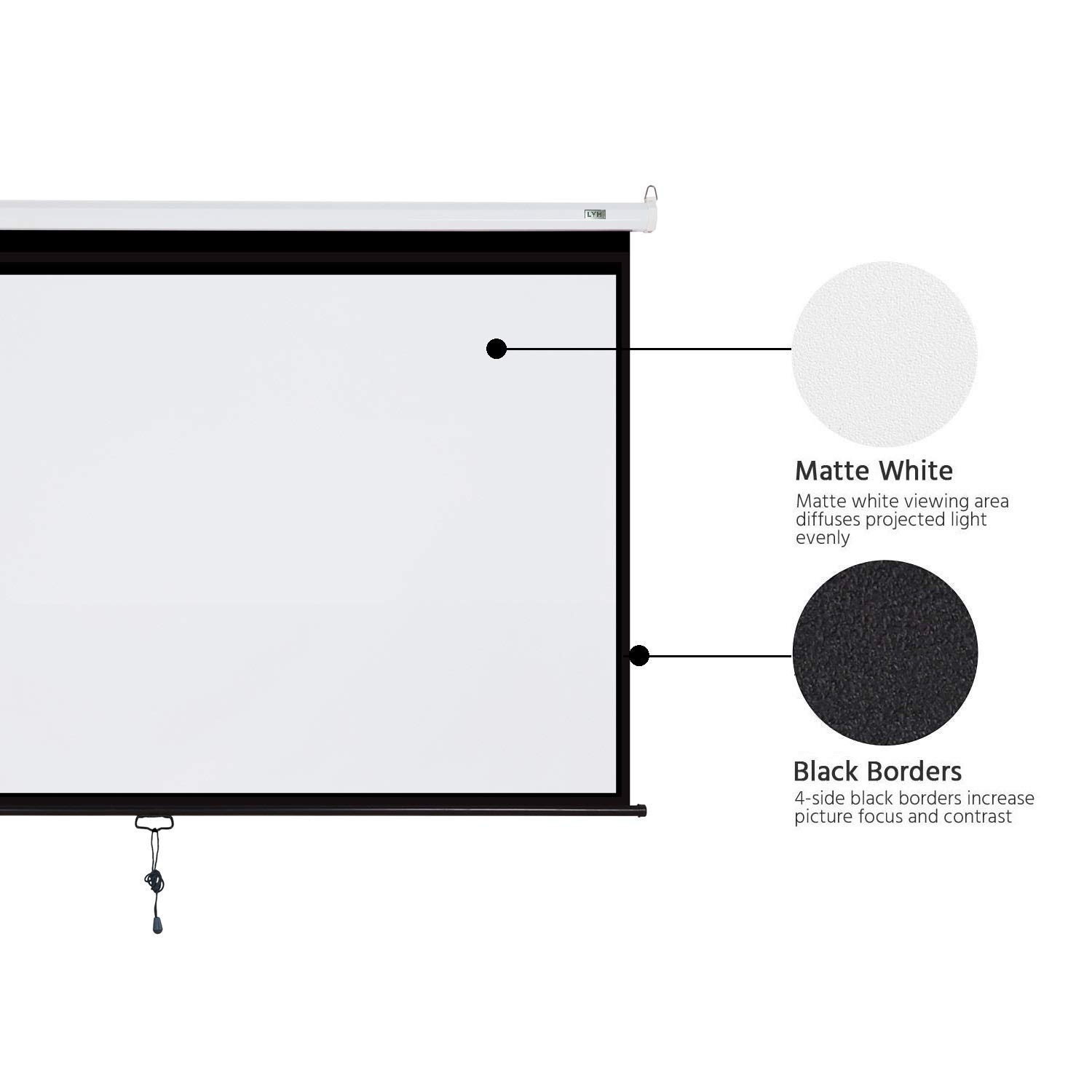 Projector Screen Manual Pull Down 100 inch 16:9 Projection Movies ...